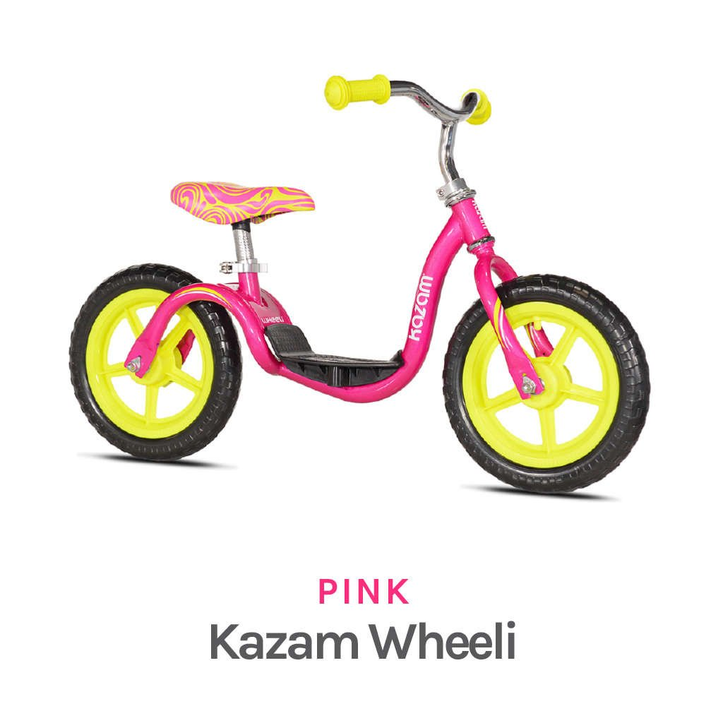 Pink Kazam Sprout Featured - Specs - Steel Frame & Fork, Puncture Proof EVA Foam Tires, Plastic Grey Mag wheels, and Adjustable Seat & Handlebars - Available Colors in Blue, Red, and Magenta