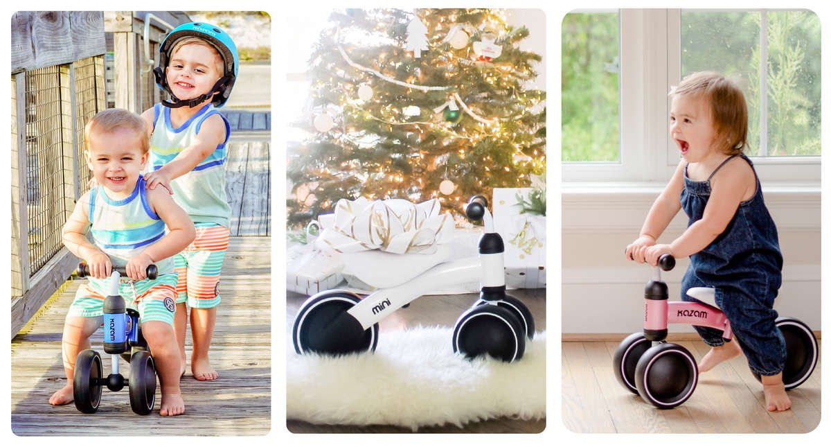 Three images - (1) Young brothers playing, one brother on a blue mini and the other pushing him lightly, wearing a light blue Multi-Sport Kazam Helmet, (2) A white Mini featured underneath the christmas tree with a fluffy white rug underneath it, (3) A little girl riding her pink mini in the comfort of her living room.