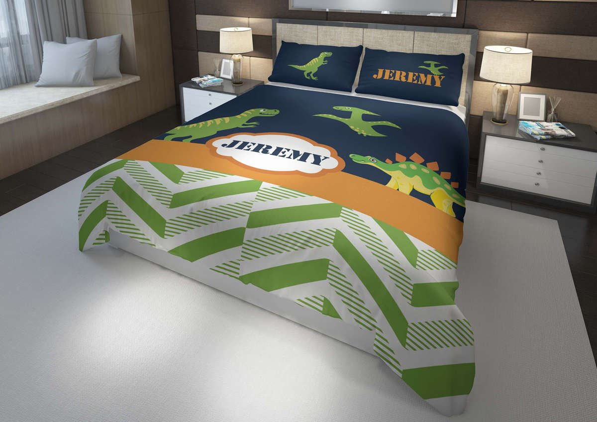 Picture of: T Rex Dinosaur 3 Boys Bedding Set Comforter Duvet Twin Full Toddle Dreamy Beddings