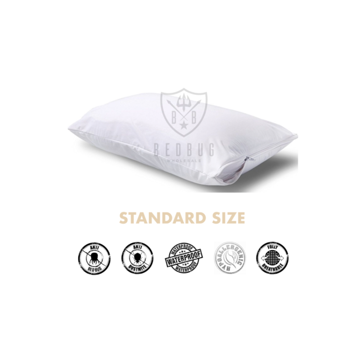 Standard Size Allergy, Dust Mite, Bed Bug Pillow Cover