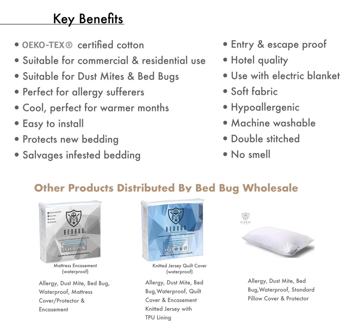 100% Cotton Dust Mite Protector, Bed Bug Wholesale