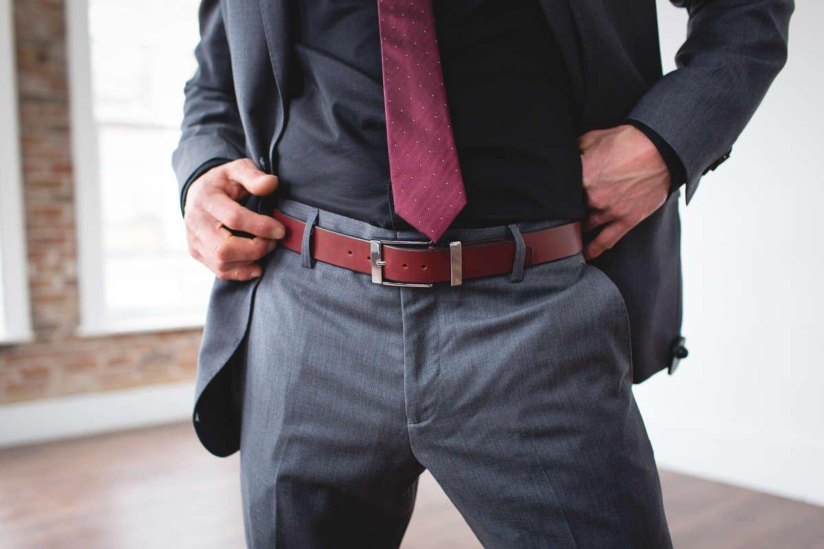 Men's Designer Formal Burgundy Leather Belt-Chrome