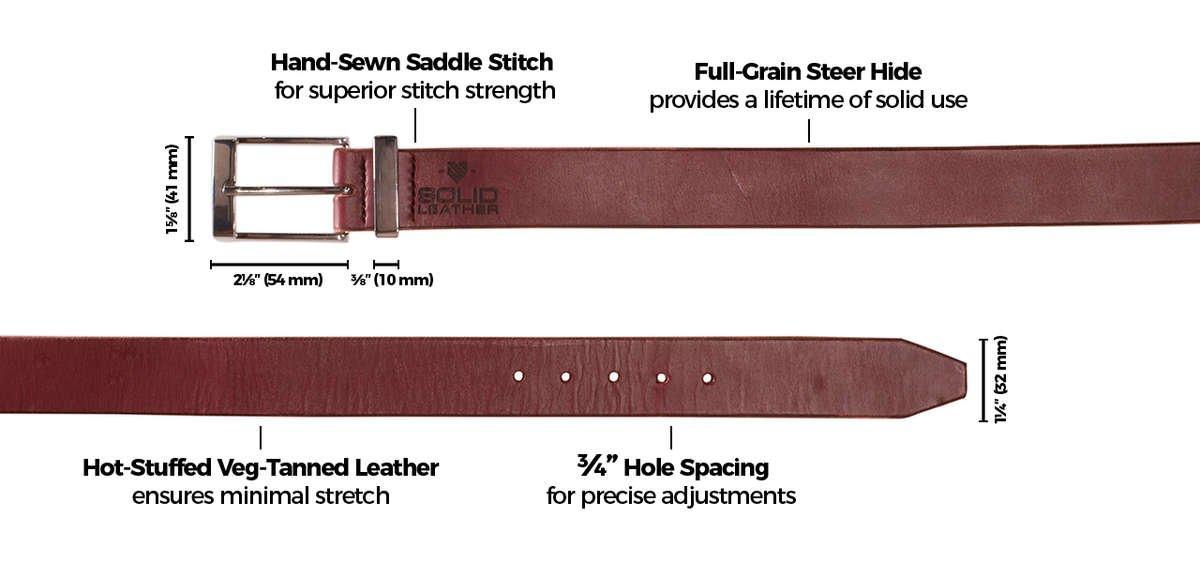 Mens Formal Solid Leather Burgundy Belt & Chrome Buckle