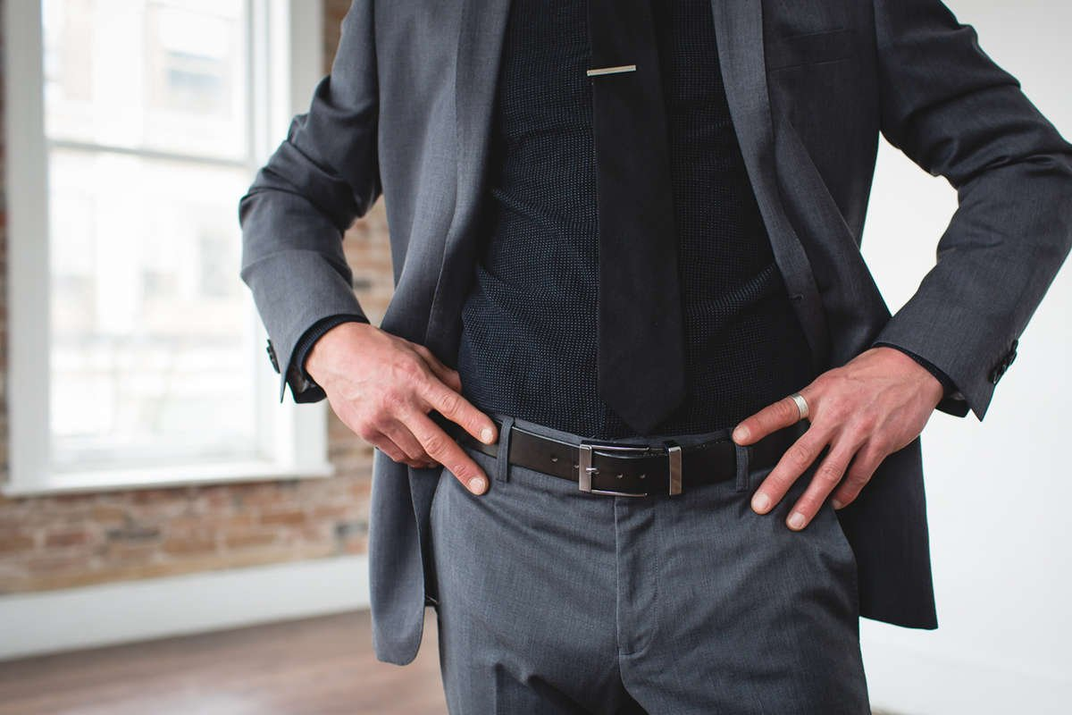 Men's Designer Formal Black Belt-Chrome