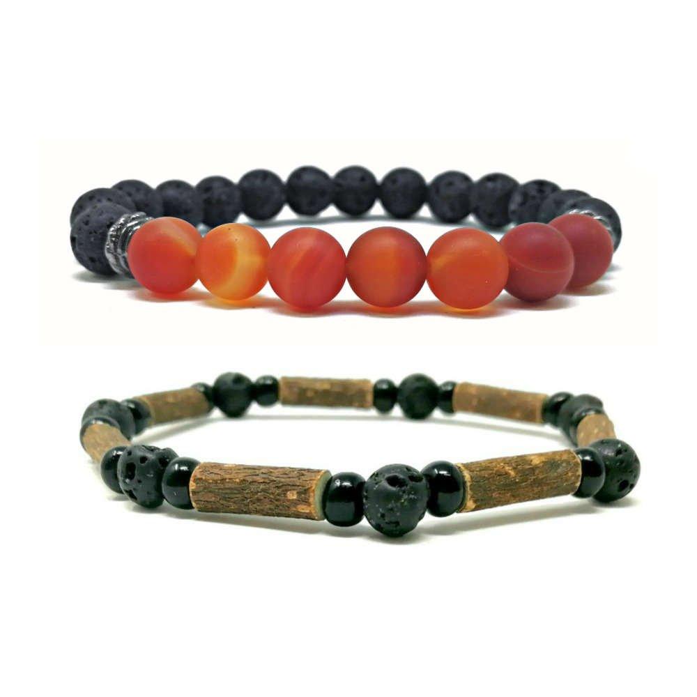 Duo de bracelets diffuseurs Chakra racine et agate rouge