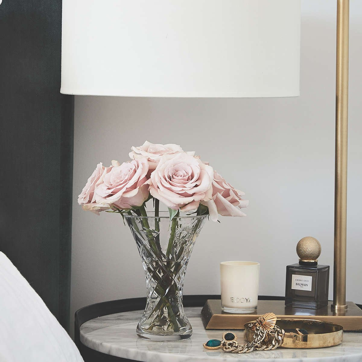Roses on bedside table