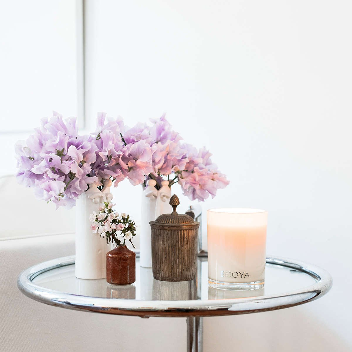 flowers and ECOYA candle