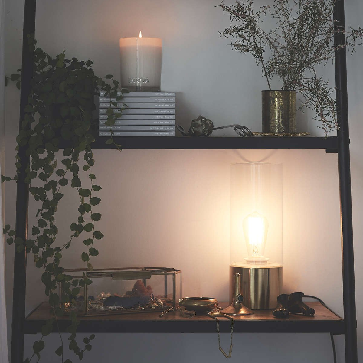 Candles, books, plants and a lamp in Mimi Gilmour-Buckley's home