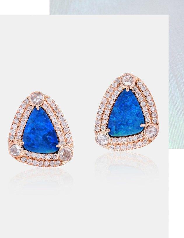 Blue Opal Stud Earring