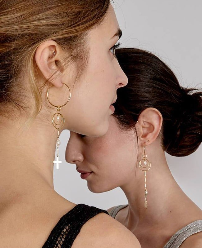 Yellow Gold Filled Archer Earrings, Alison Fern Jewellery