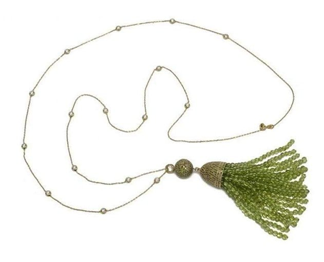 Tassel Ball Necklace Peridot Gold, Latelita London,
