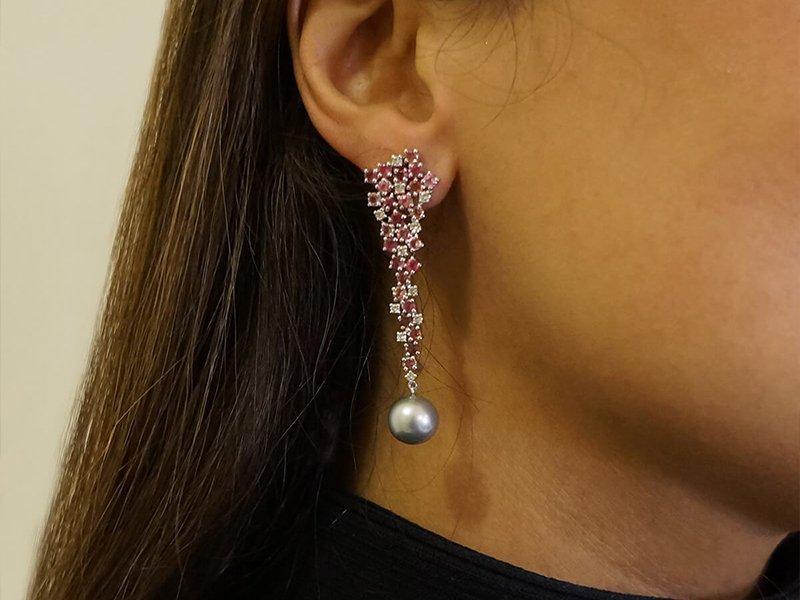 Cascading Tourmaline & Diamond Earrings With Tahitian Pearl