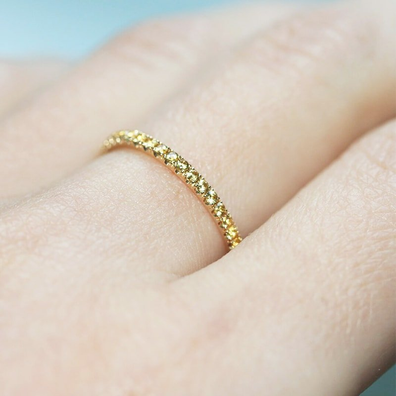 Yellow Sapphire Full Eternity Ring In 18kt Yellow Gold , Verifine London
