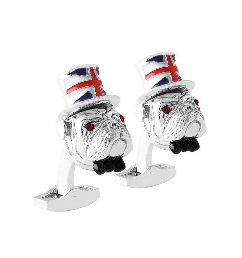 Sterling Silver Britannia Bulldog Cufflinks, Tateossian