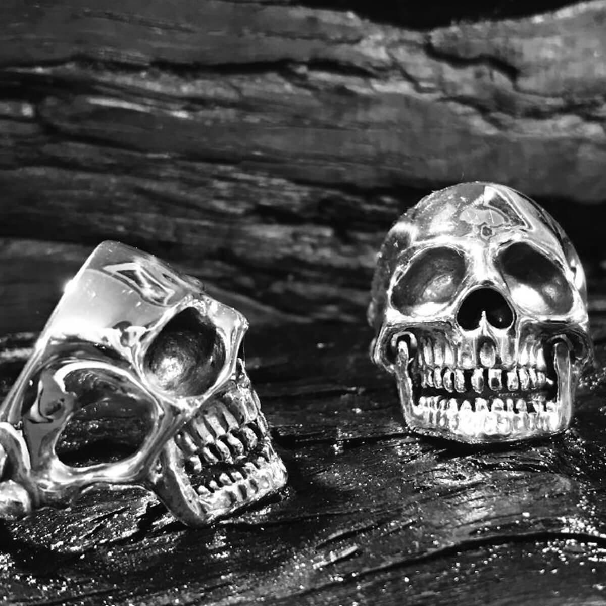 Hand Carved Sterling Silver Men's Skull Ring