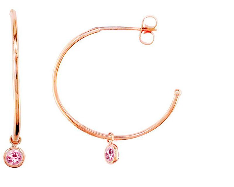 Modern Rose Gold Pink Tourmaline Dew Drop Hoops - London Road Jewellery
