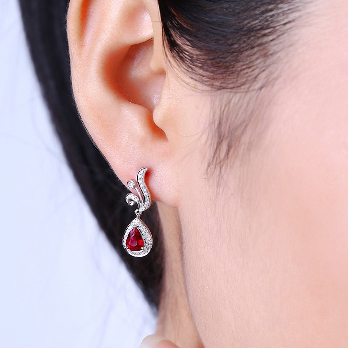 Pear Cut Ruby Diamond Earrings - 1.0ct Rubies