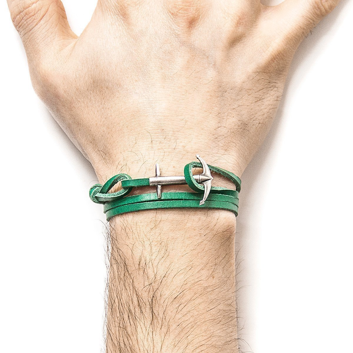Fern Green Admiral Silver And Leather Bracelet