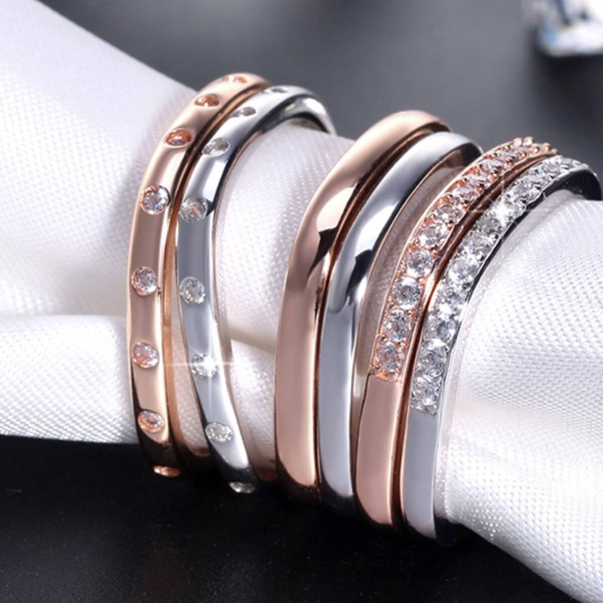 Rose Gold Plated Silver Stacking Ring With Man-Made Diamonds