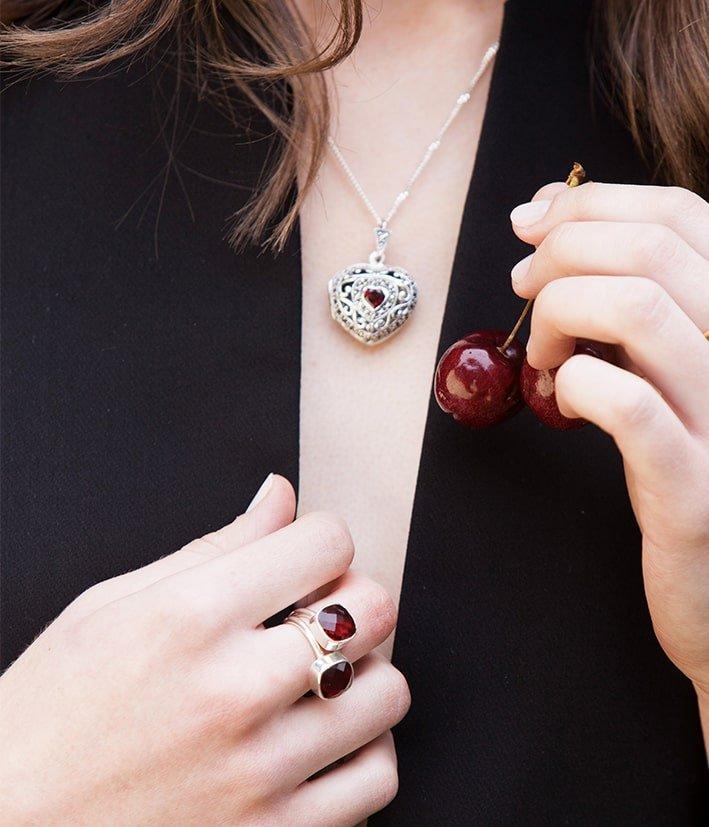 Vintage Garnet Heart Locket, Lily Blanche