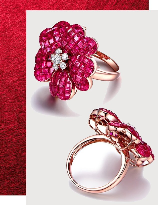 Ruby Flower Cocktail Ring, SILVER YULAN