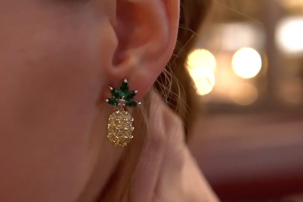 Yellow Gold Plated Silver Mini Pineapple Earrings