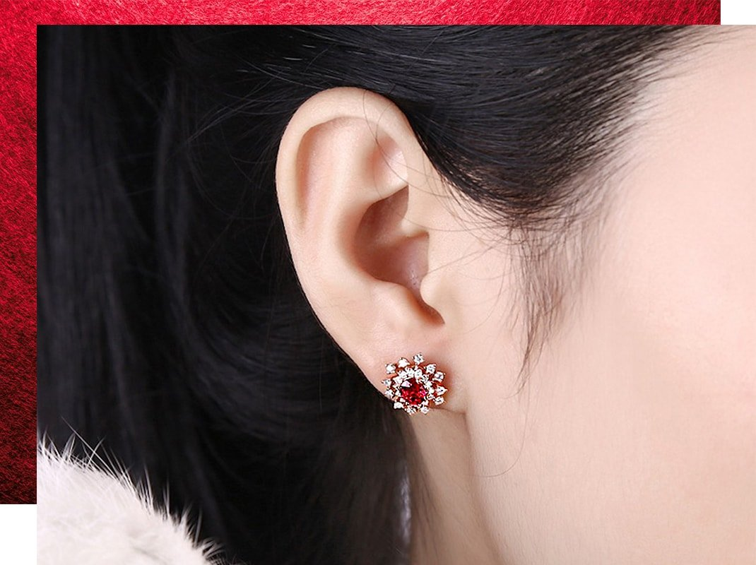 Ruby Diamond Studs, SILVER YULAN