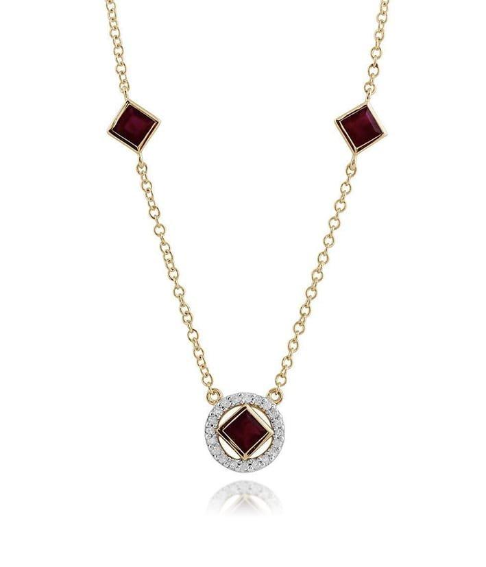 Ruby and Diamond Geometric Halo Necklace, Gemondo Jewellery
