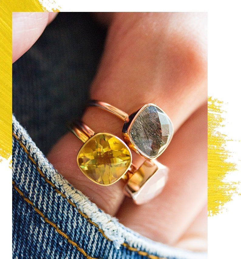 Citrine Cocktail Ring/ Gold - Lily Blanche