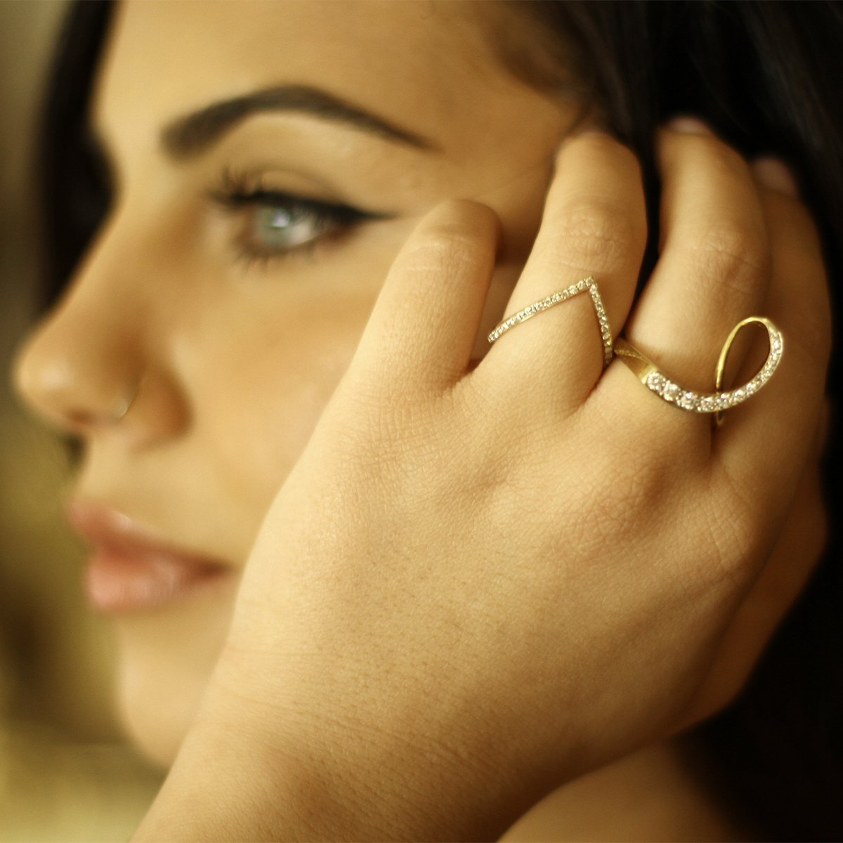 Loop Yellow Gold And Diamond Ring