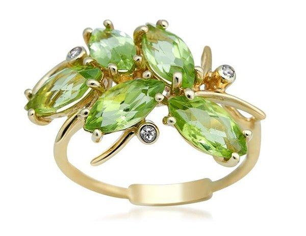 Yellow Gold Peridot Ring,  Drukker Designs