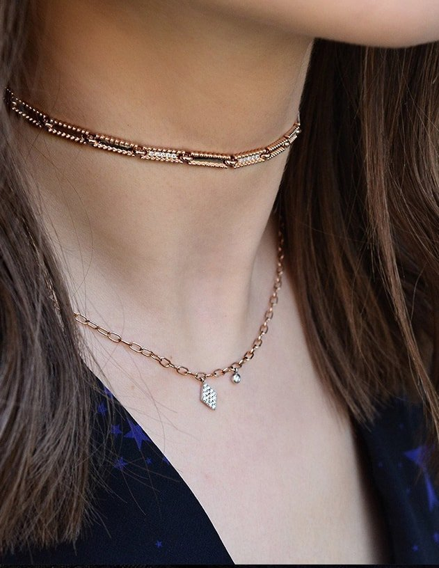 14kt rose gold Duke Necklace / Choker, Jezebel London
