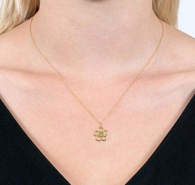 Blossom Birthstone Yellow Gold Peridot Pendant,  London Road Jewellery