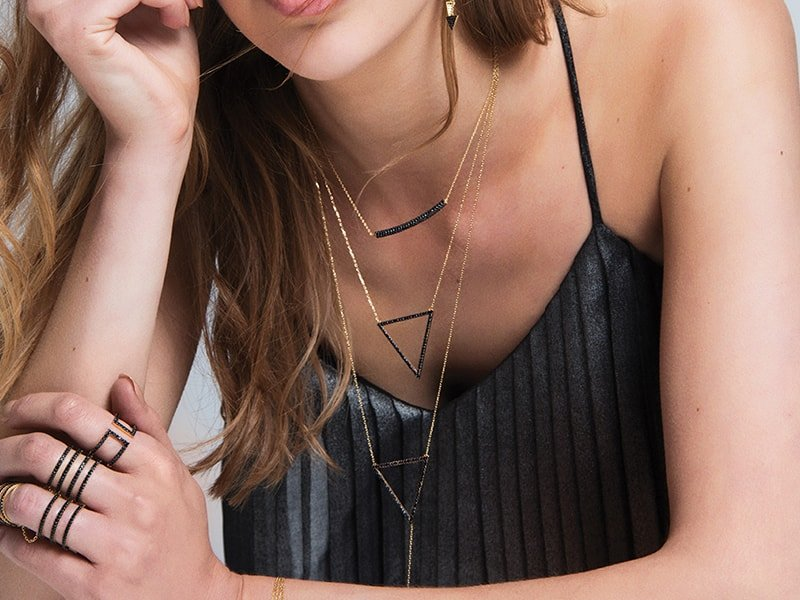18kt Rose Gold Plated Silver Triangle & Line Necklace, Amorium