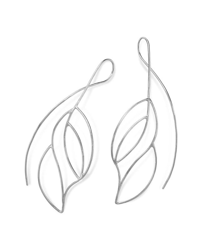 Sterling Silver Frond Earrings, Janice Zethraeus