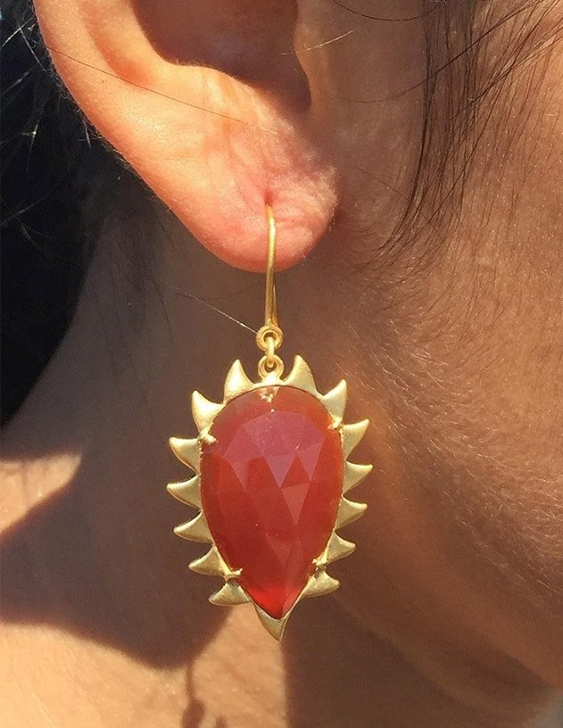 Claw Red Onyx Earrings, Meghna Jewels