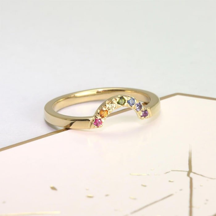Yellow Gold Plated Rainbow Ring
