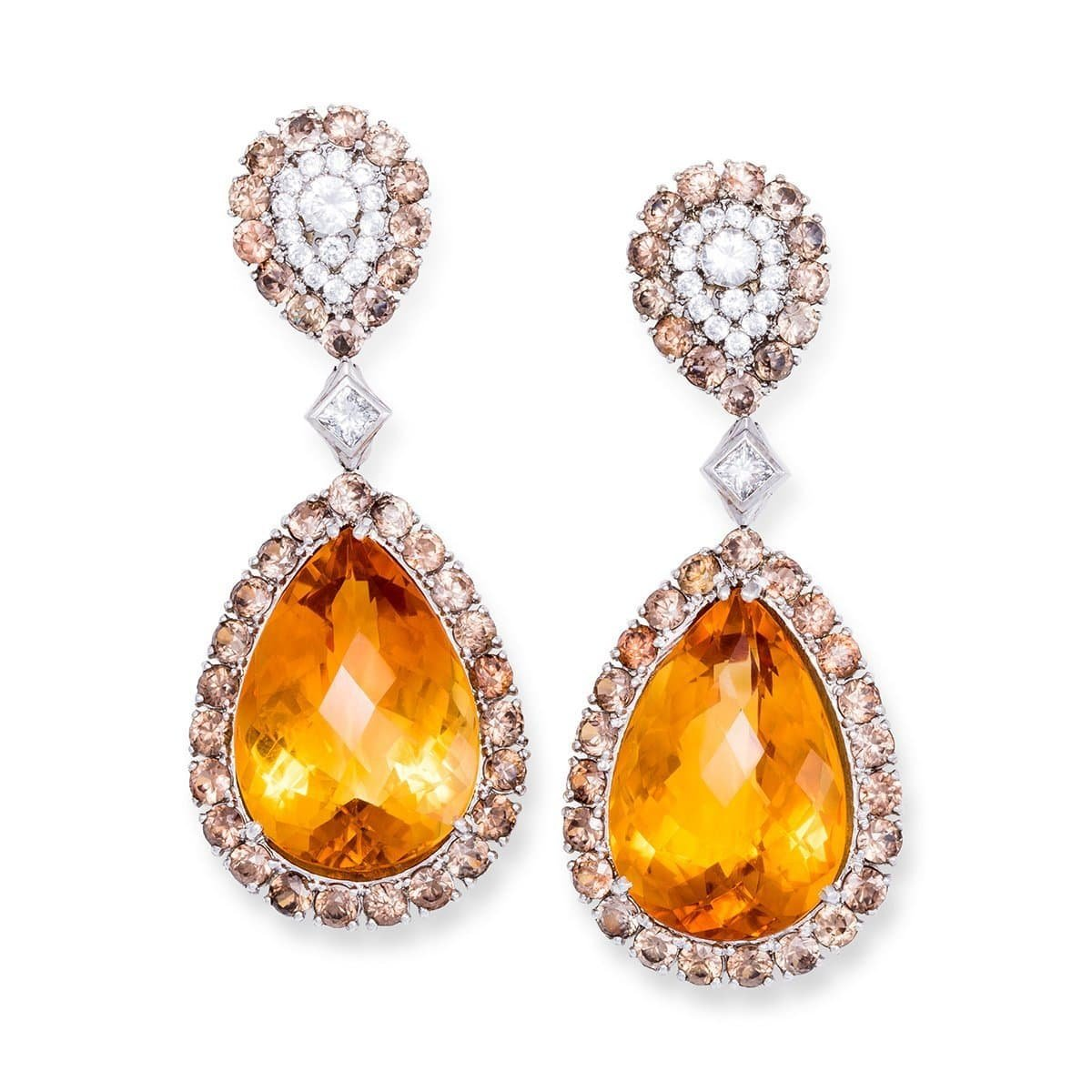 White Gold, Citrine & Diamond Haute Bijoux Drop Earring