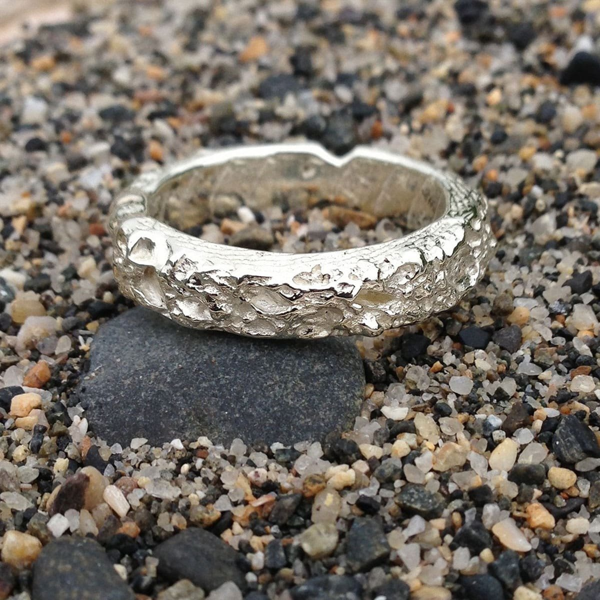 Cornish Beach Sand Textured 14kt White Gold Wedding Ring