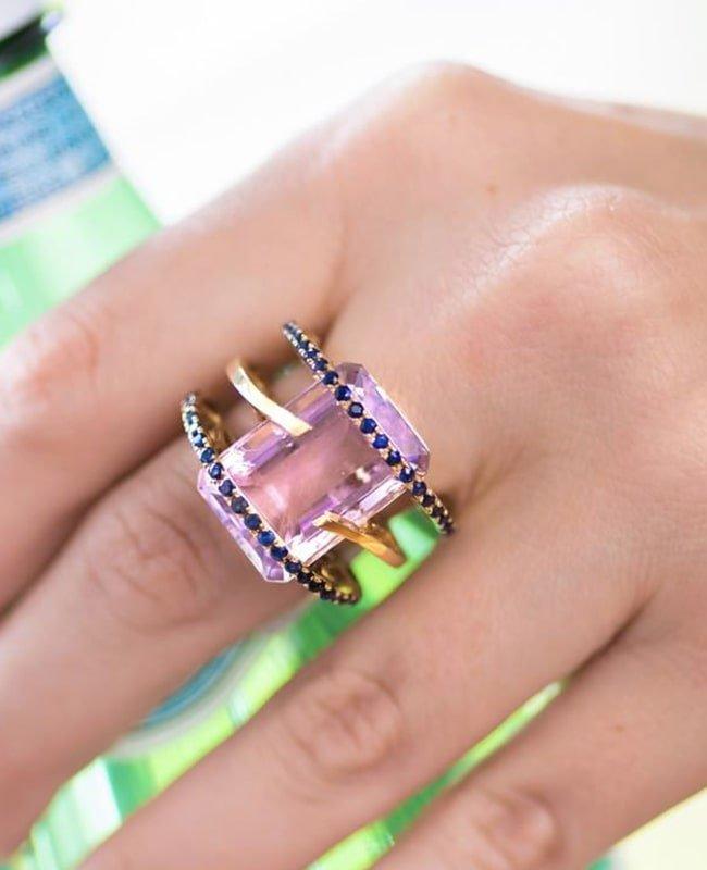 Gold, Amethyst & Sapphire Helena Ring | Arya Esha