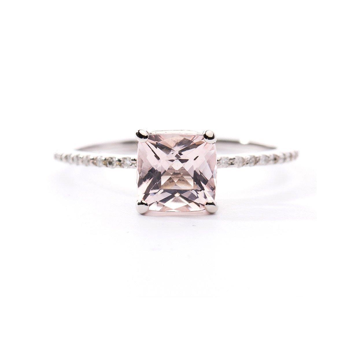 Princess Cut Morganite Ring - Oh my Christine Jewelry