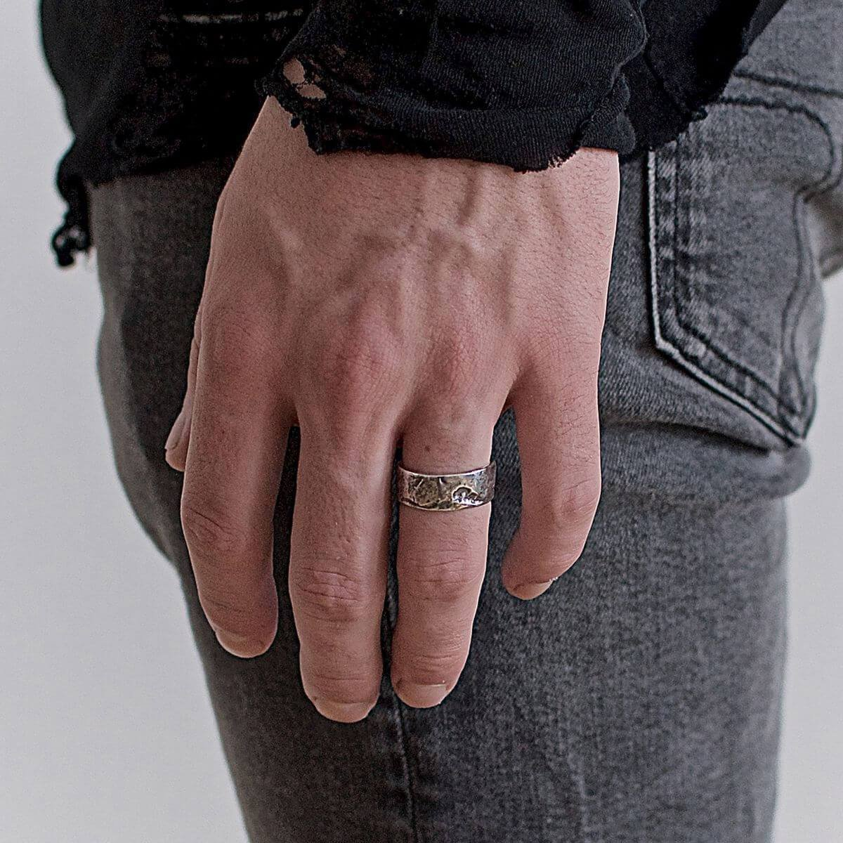 Sterling Silver Rock Band Ring