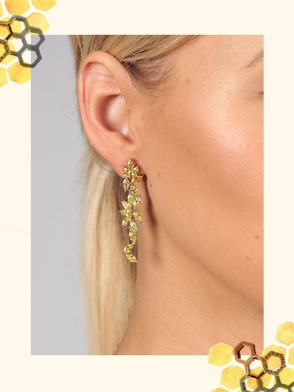 Citrine Flower Drop Earrings, AMARA AMARA