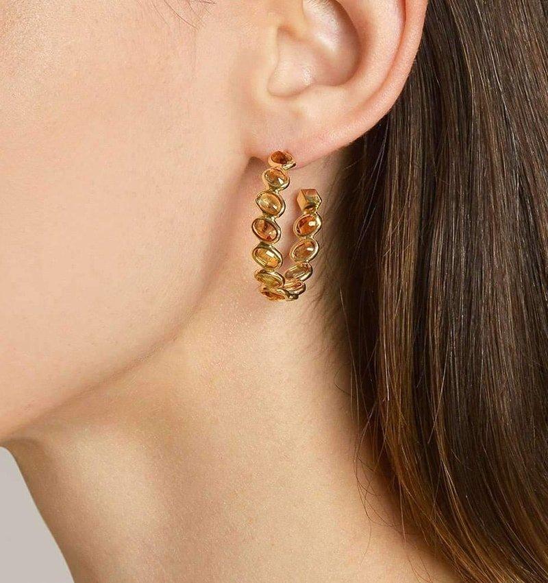 Orange Sapphire Ombre Hoop Earrings,  Paolo Costagli New York