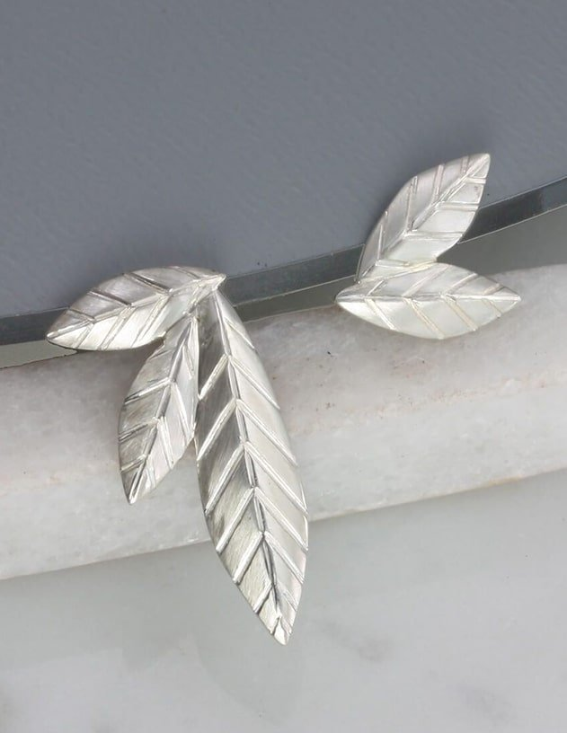 Sterling Silver Mismatched Leaf Stud Earrings, Jana Reinhardt Jewellery