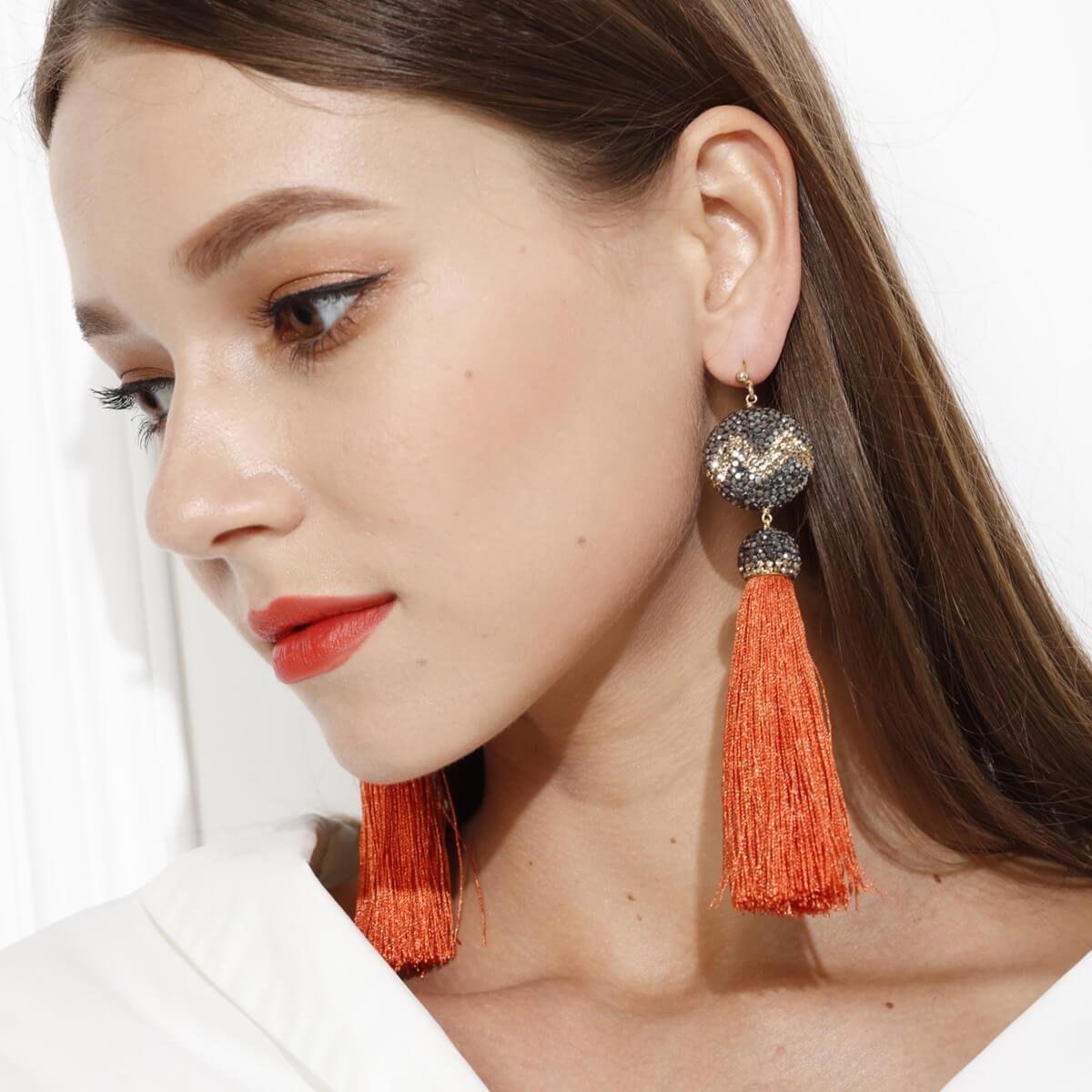 Rhinestone Earrings With Red Tassel