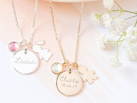 Personalised New Baby Necklace Silver