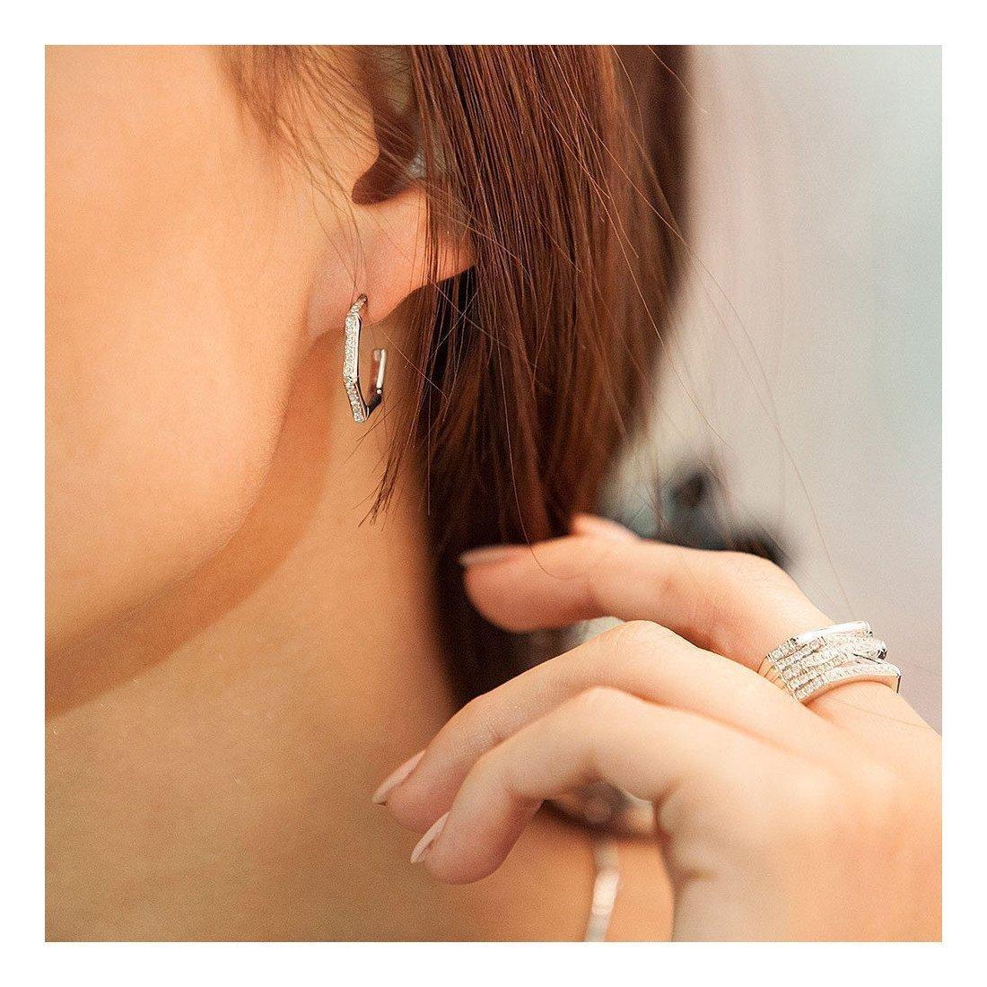 Bamboo Small Diamond Hoop Earrings