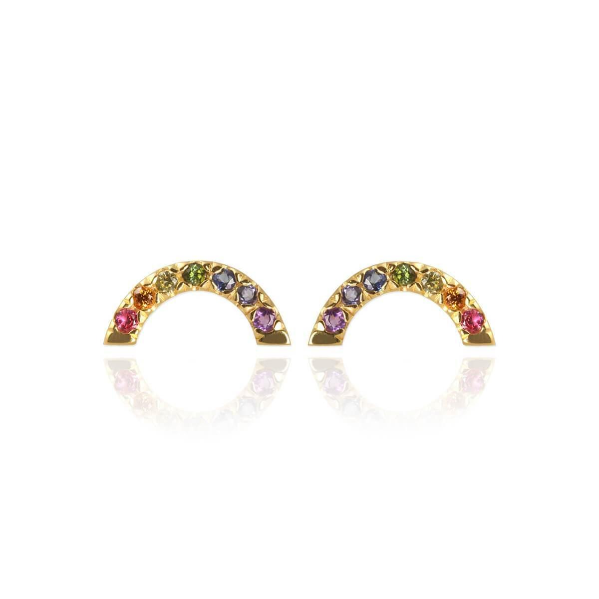 Yellow Gold Plated Rainbow Stud Earrings