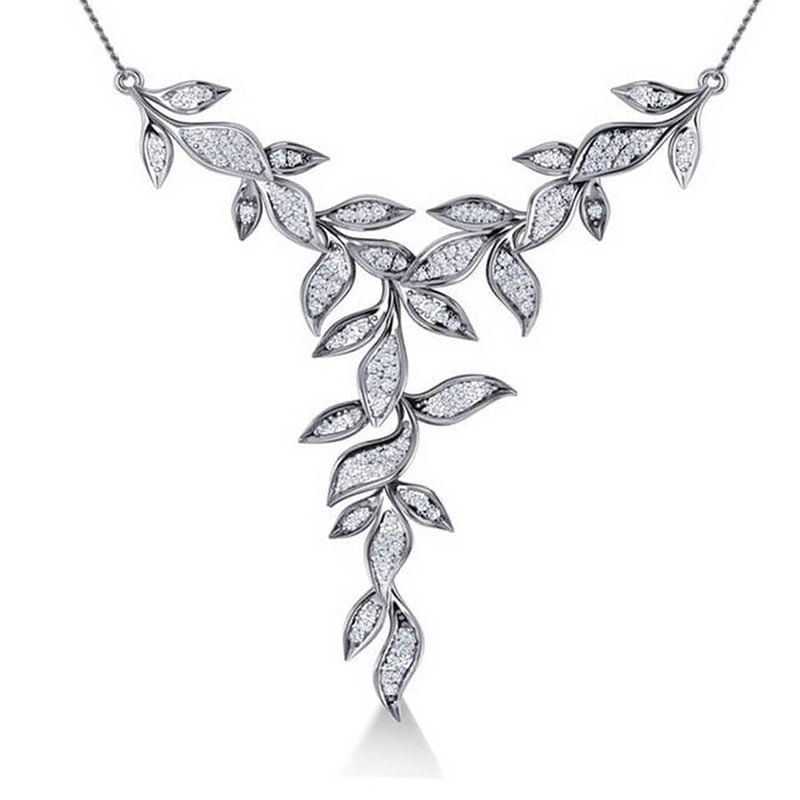 14kt White Gold Diamond Vine Leaf Pendant Necklace, Alleruz